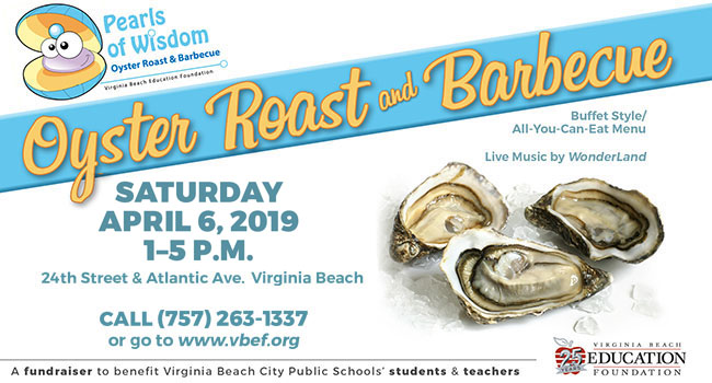 Pearls of Wisdom Oyster Roast & Barbecue, Saturday, April 6, 2018, 1-5 p.m.